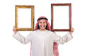 Arab with picture frame on white Royalty Free Stock Images