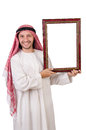 Arab with picture frame on white Stock Images