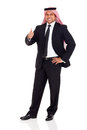 Arab thumb up happy man in black suit giving on white background Stock Photography
