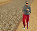 Arab woman jogging sidewalk street an wearing sunglasses on the intended copyspace to the left Royalty Free Stock Image