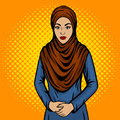 Arab woman in traditional dress pop art vector Royalty Free Stock Photo