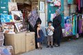 Arab women and children at the shop along the street in the old town of bethlehem israel Stock Image
