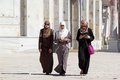 Arab women young with traditional dress are walking at temple mount jerusalem israel Stock Image