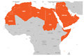 Arab World states political map with higlighted 22 arabic-speaking countries of the Arab League. Northern Africa and