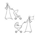 Arab young woman pushing a pram vector hand drawn illustration set two women in traditional muslim dress baby stroller mother and Stock Image