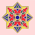 Arabesque, arabic tile, orient colorful stained-glass. Pattern for Eid Mubarak, Ramadan, decorative islamic vignette for