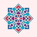 Arabesque, arabic vignette, orient colorful stained-glass. Design for Eid Mubarak, Ramadan, decorative islamic tile of
