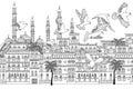 Arabesque cityscape with birds