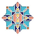 Arabesque design, vignette in eastern style, orient colorful stained-glass. Pattern for Eid Mubarak, decorative islamic