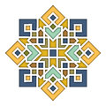 Arabesque eastern pattern, vignette in islamic style, oriental colorful stained-glass. Illustration for Eid Mubarak