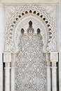 Arabesque marble panel a beautiful hand sculpted grey and white islamic arch and in rabat morocco Royalty Free Stock Photography