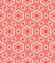 Arabesque pattern ornamental elegant hand drawn seamless vector in coral red and white with circular shapes and six pointed stars Royalty Free Stock Photo
