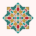 Arabesque pattern, vignette in eastern style, orient colorful stained-glass. Design for Eid Mubarak, decorative islamic