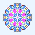 Arabesque pattern, vignette in eastern style, orient stained-glass. Design for Eid Mubarak, decor of mosque 3d