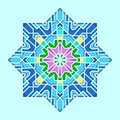 Arabesque pattern, vignette in eastern style, orient stained-glass. Design for Eid Mubarak, decorative tile of mosque 3d