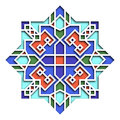 Arabesque pattern, vignette in eastern style, oriental colorful stained-glass. Illustration for Eid Mubarak, decorative