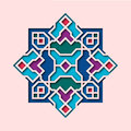 Arabesque pattern, vignette in oriental style, eastern colorful stained-glass. Design for Eid Mubarak, decorative