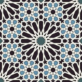 Arabesque seamless pattern in blue and black editable vector file Stock Photography