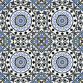 Arabesque seamless pattern in blue editable vector file Stock Images