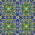 Arabesque seamless pattern in blue and green editable vector file Royalty Free Stock Photos
