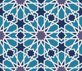 Arabesque seamless pattern in blue and grey editable vector file Royalty Free Stock Photos