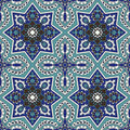 Arabesque seamless pattern in blue and turquoise editable vector file Stock Photo