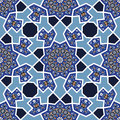 Arabesque seamless pattern in blue and white editable vector file Royalty Free Stock Images