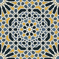 Arabesque seamless pattern in blue and yellow editable vector file Stock Photography