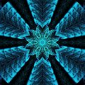 Mandala in arabesque style in neon blue. Tattoo, spiritual yoga
