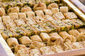 Arabian baklava as closeup in a box Royalty Free Stock Image