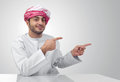 Arabian business man pointing his fingers isolated Royalty Free Stock Photography