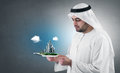 Arabian businessman with a virtual presentation Royalty Free Stock Images