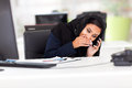 Arabian businesswoman taking private call working hour Stock Photos