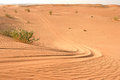 Arabian Desert Sand Dune and Vehicle Tracks Royalty Free Stock Photo