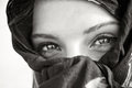 Arabian eye closeup portrait of a young beauty close up photo black and white Stock Photo