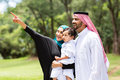 Arabian family forest cute looking and pointing in the Stock Images