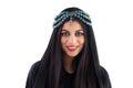 Arabian girl wearing traditional headscarf beautiful tribal woman wrapped in scarf Royalty Free Stock Photo