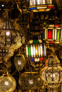 Arabian lamps in the souks of marrakesh morocco Royalty Free Stock Photo