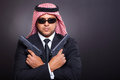 Arabian mafia handguns with two on black Royalty Free Stock Photos