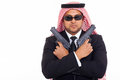 Arabian mafia man holding pistols over white background Stock Photos