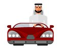 Arabian man in a red car Royalty Free Stock Photo