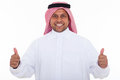Arabian man thumbs up happy giving on white background Royalty Free Stock Photos