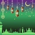 Arabian night. Ramadan Kareem greeting card.