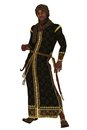 Arabian nights prince fantasy figure in long robes and turban with sheathed scimitar and dagger Royalty Free Stock Image