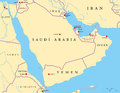 Arabian Peninsula Political Map Royalty Free Stock Photo