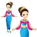 Arabian princess in gold crown vector illustration of beautiful Stock Images