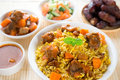 Arabian rice arab ramadan food in middle eastern served with tandoor mutton and arab salad Stock Photo