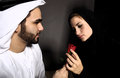 Arabian valentine an arab man declares his emotions with a rose Stock Photography