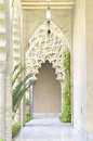 Arabic arches at aljaferia palace in zaragoza spain Royalty Free Stock Photo