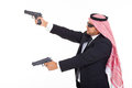 Arabic bodyguard guns side view of holding on white background Stock Image